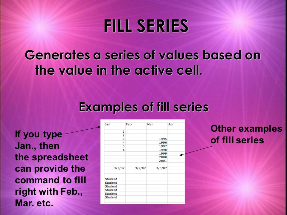 Examples of fill series