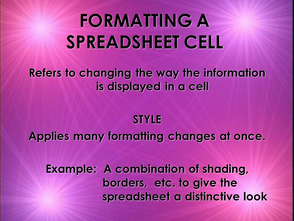 FORMATTING A SPREADSHEET CELL