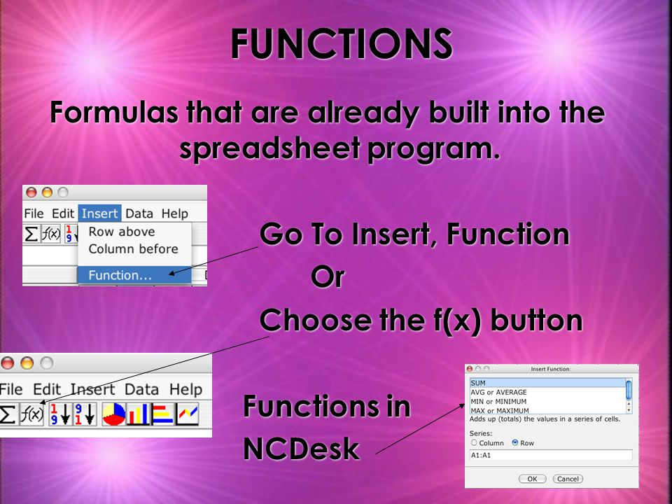 Formulas that are already built into the spreadsheet program.