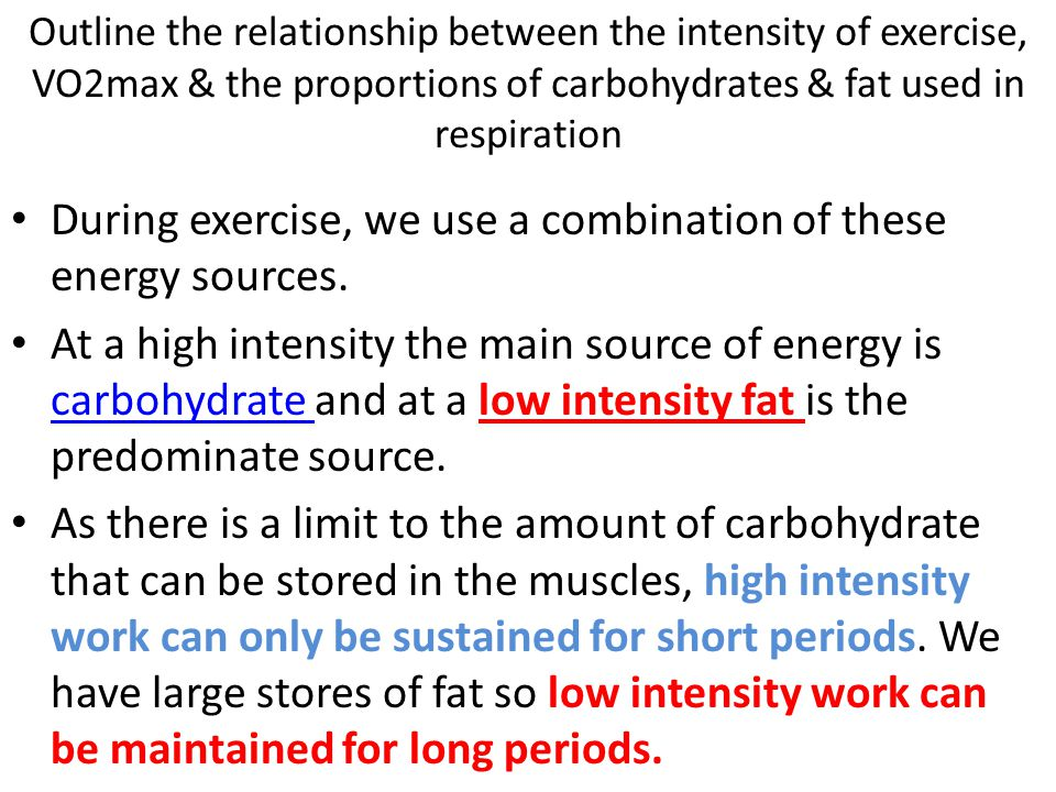 During exercise, we use a combination of these energy sources.