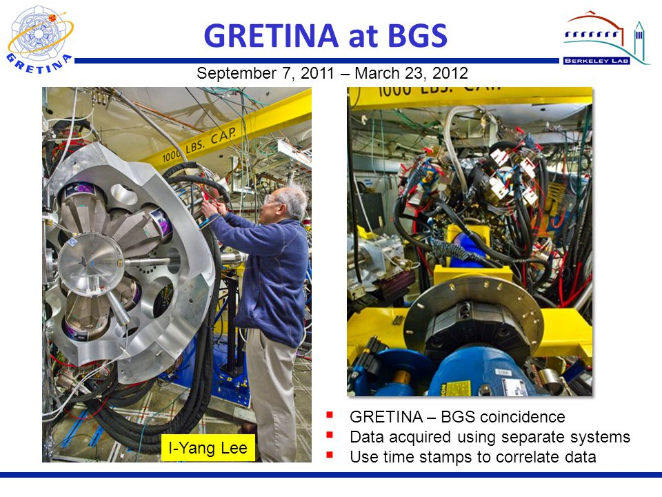 GRETINA at BGS September 7, 2011 – March 23, 2012