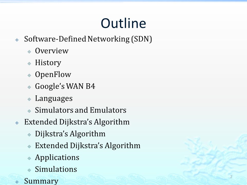Software Defined Networking and Dijkstra's Algorithm - ppt