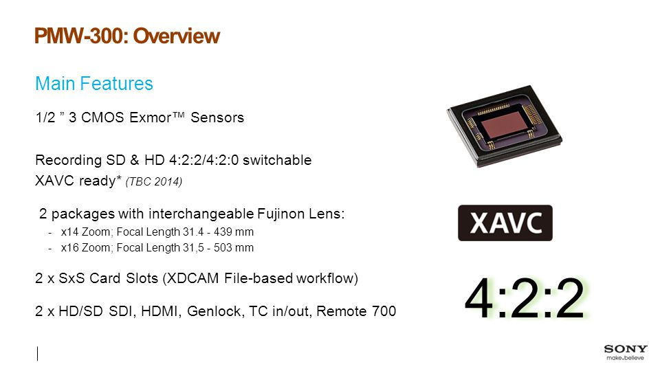 4:2:2 PMW-300: Overview Main Features 1/2 3 CMOS Exmor™ Sensors