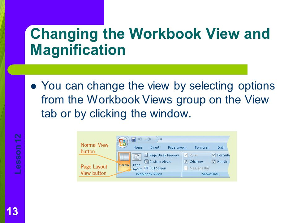 Changing the Workbook View and Magnification