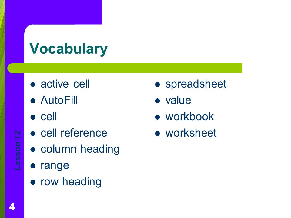 Vocabulary active cell AutoFill cell cell reference column heading