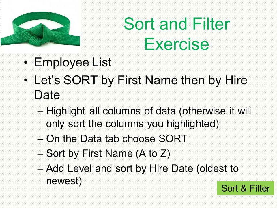 Sort and Filter Exercise