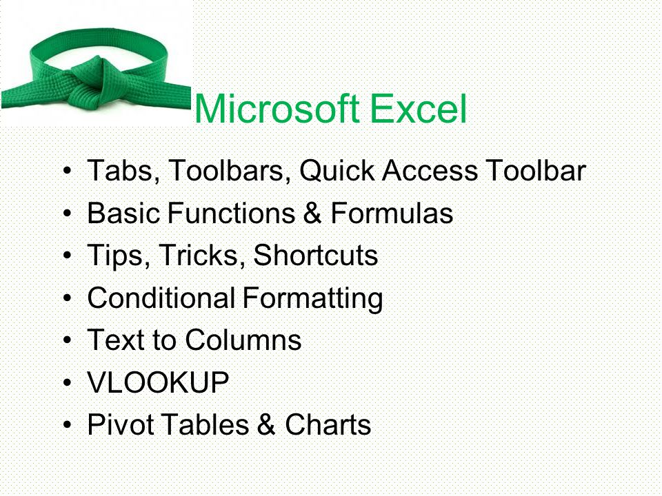Microsoft Excel Tabs, Toolbars, Quick Access Toolbar