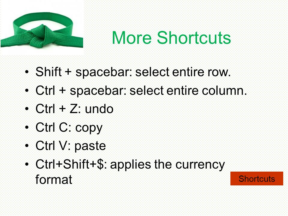 More Shortcuts Shift + spacebar: select entire row.