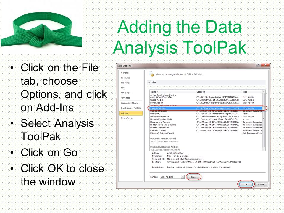 Adding the Data Analysis ToolPak