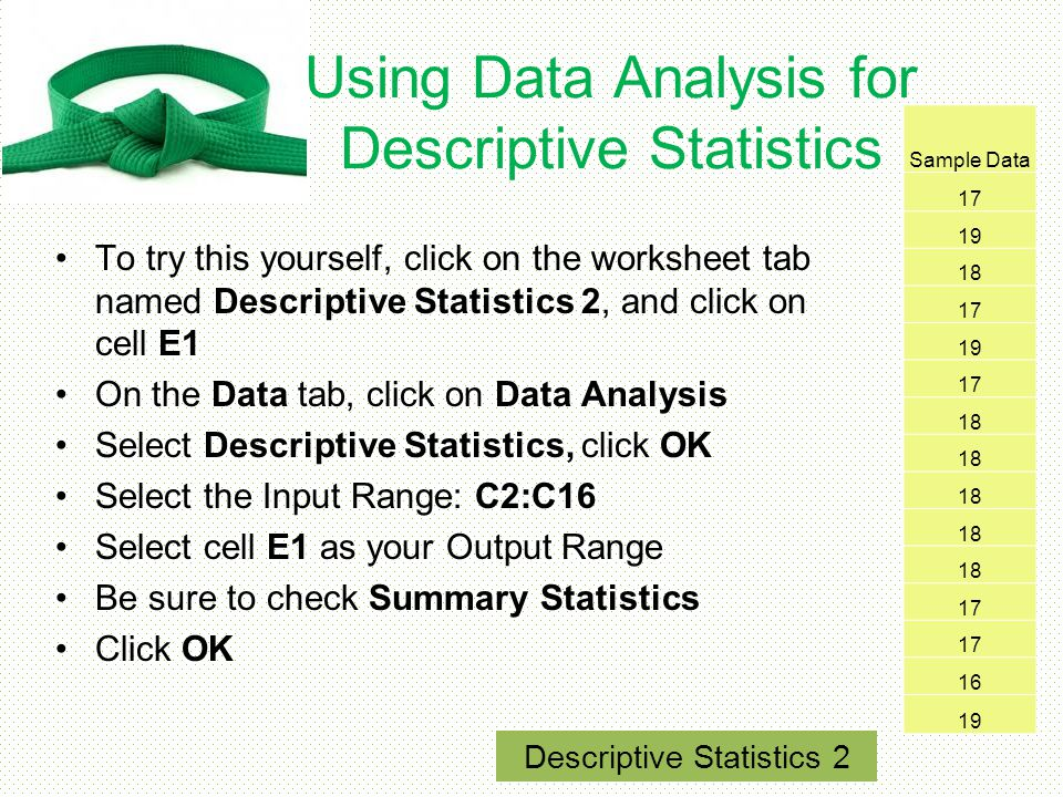 Using Data Analysis for Descriptive Statistics