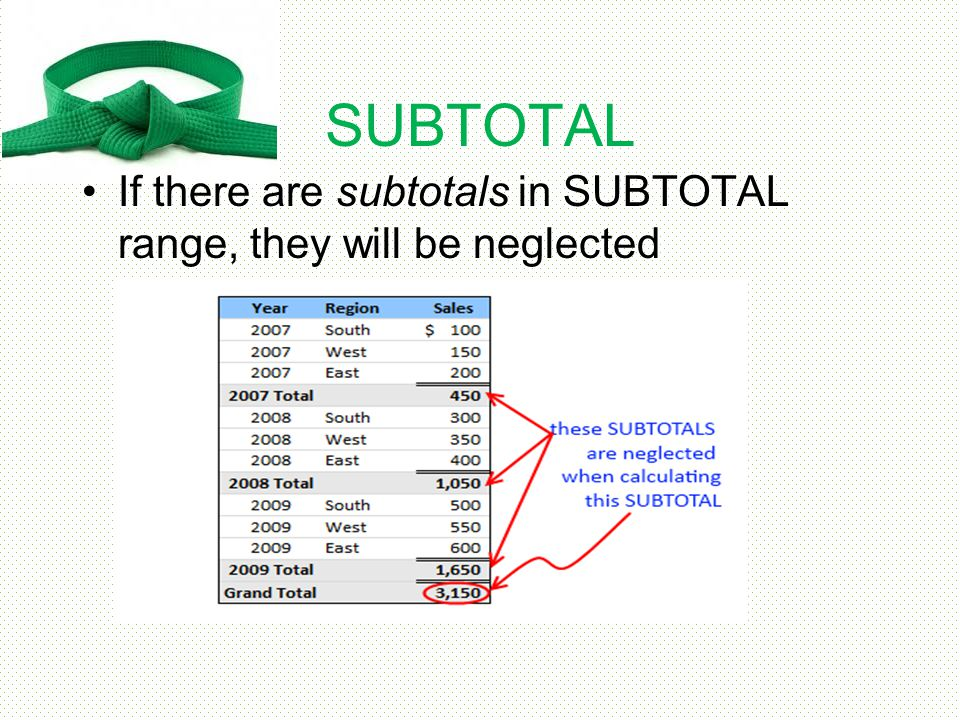 SUBTOTAL If there are subtotals in SUBTOTAL range, they will be neglected