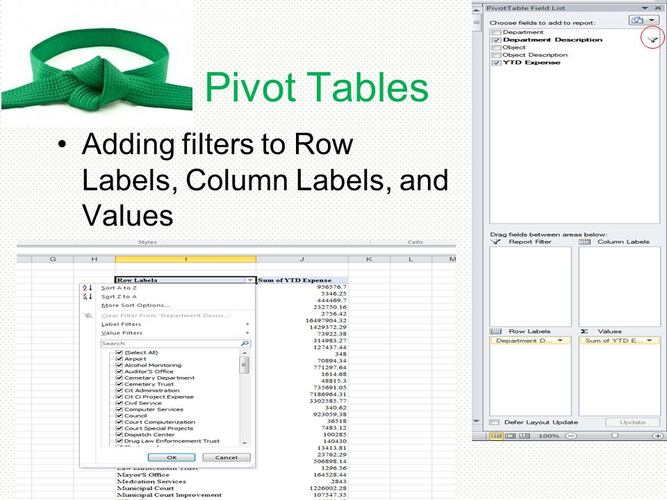 Pivot Tables Adding filters to Row Labels, Column Labels, and Values
