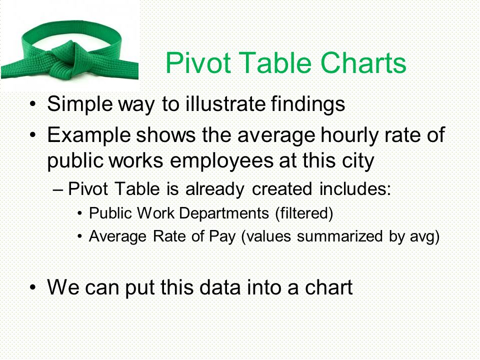 Pivot Table Charts Simple way to illustrate findings