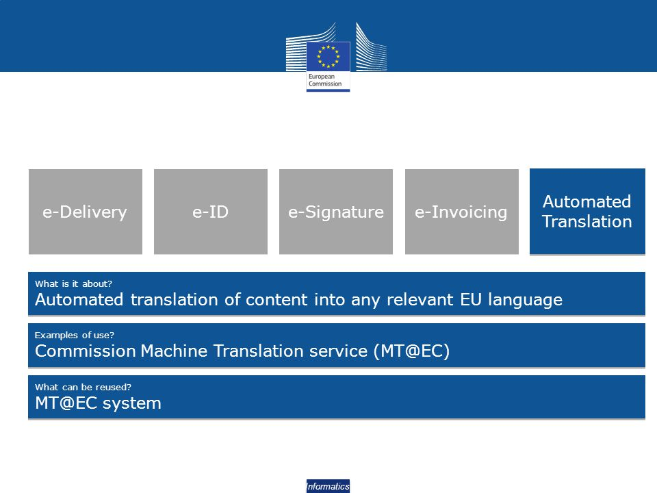 Automated translation of content into any relevant EU language