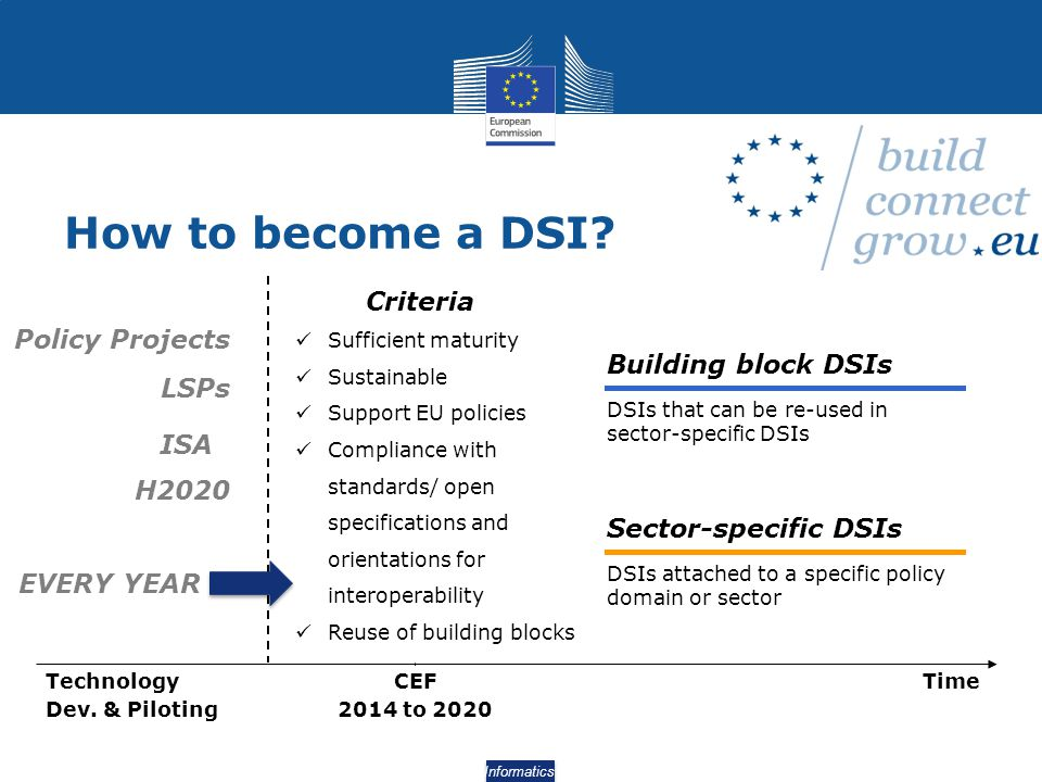 How to become a DSI Criteria Policy Projects Building block DSIs LSPs