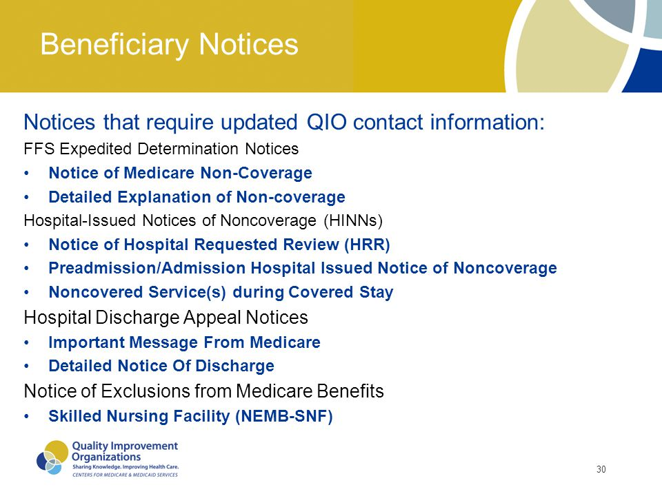 Beneficiary Notices Notices that require updated QIO contact information: FFS Expedited Determination Notices.