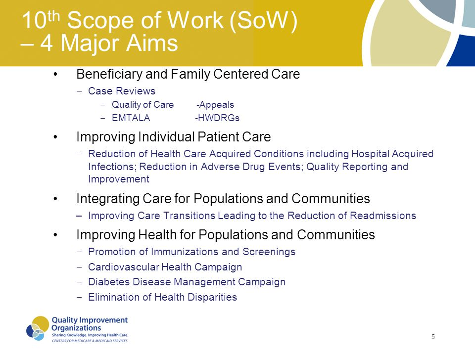 10th Scope of Work (SoW) – 4 Major Aims