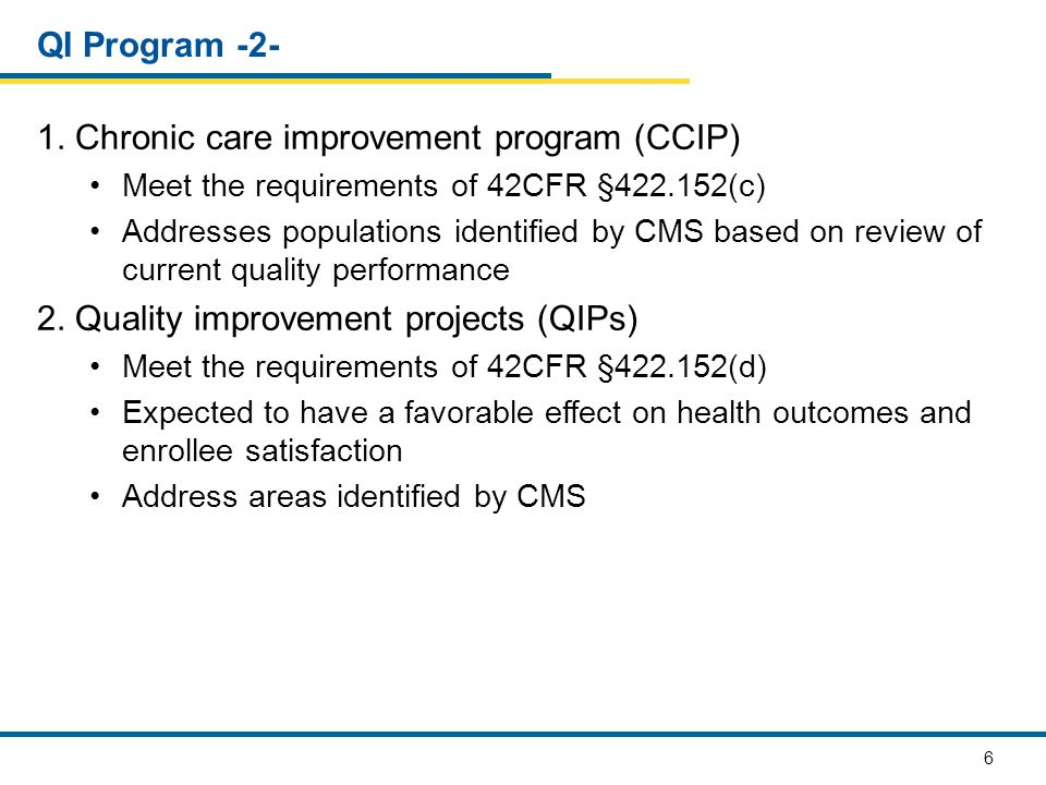 1. Chronic care improvement program (CCIP)