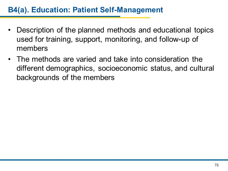 B4(a). Education: Patient Self-Management