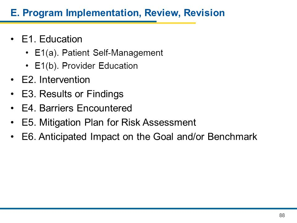 E. Program Implementation, Review, Revision