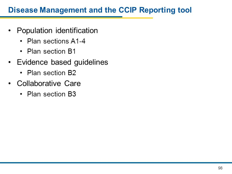 Disease Management and the CCIP Reporting tool