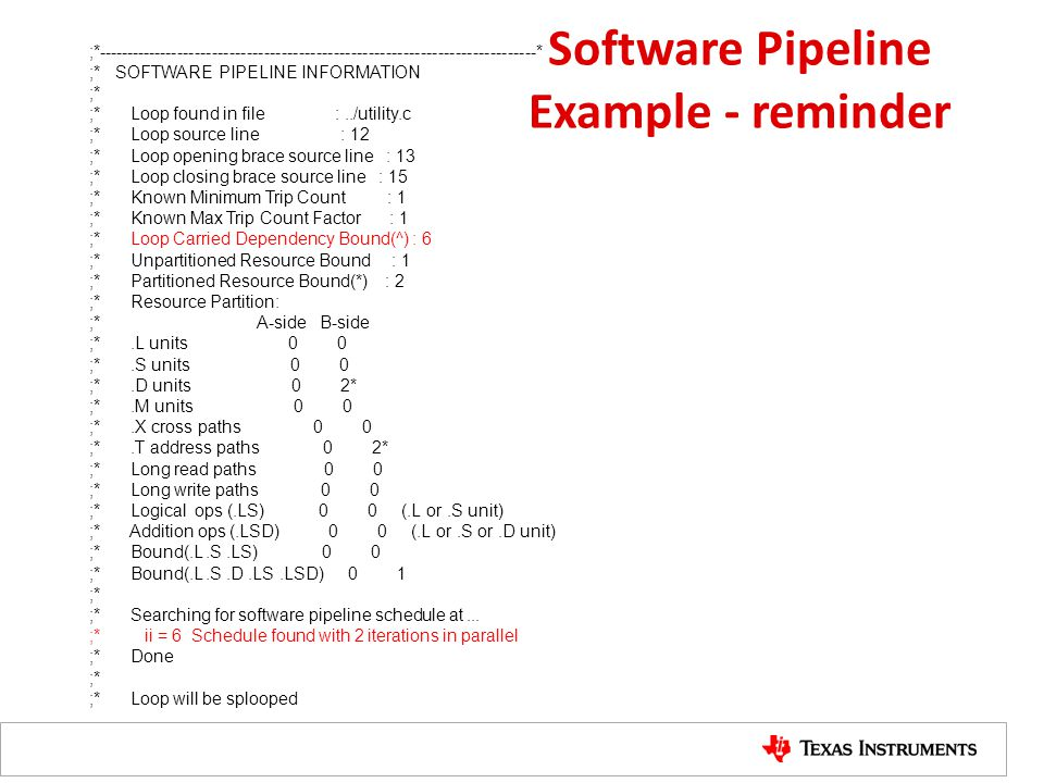 Software Pipeline Example - reminder
