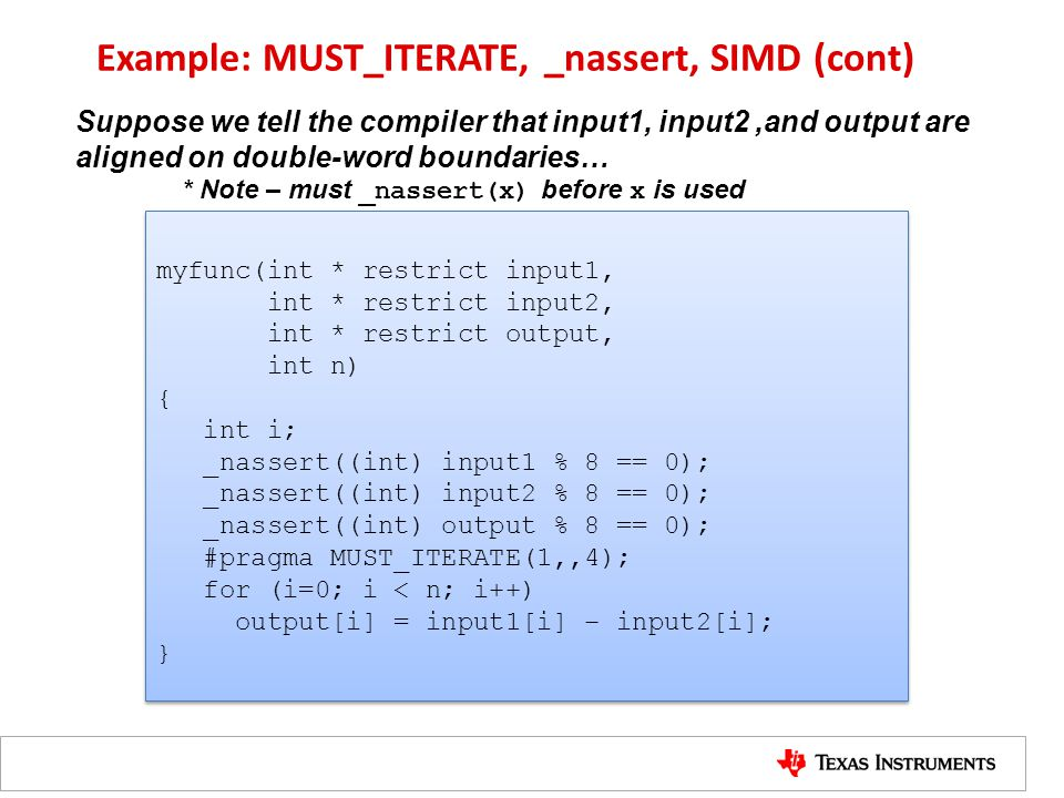 Example: MUST_ITERATE, _nassert, SIMD (cont)