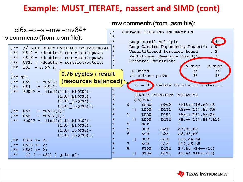 Example: MUST_ITERATE, nassert and SIMD (cont)