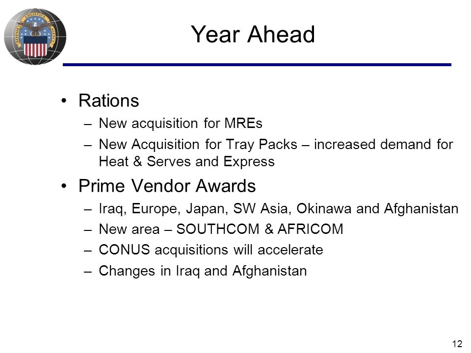 Year Ahead Rations Prime Vendor Awards New acquisition for MREs