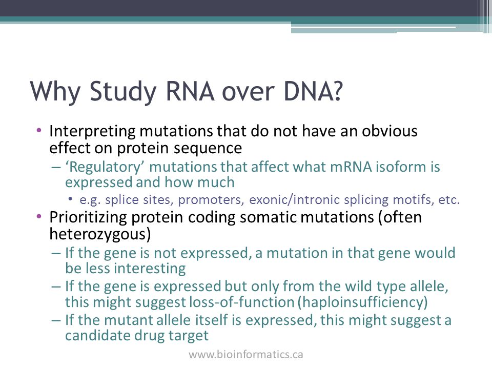 Why Study RNA over DNA Interpreting mutations that do not have an obvious effect on protein sequence.
