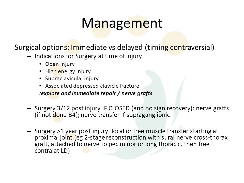 Management Surgical options: Immediate vs delayed (timing contraversial) Indications for Surgery at time of injury.