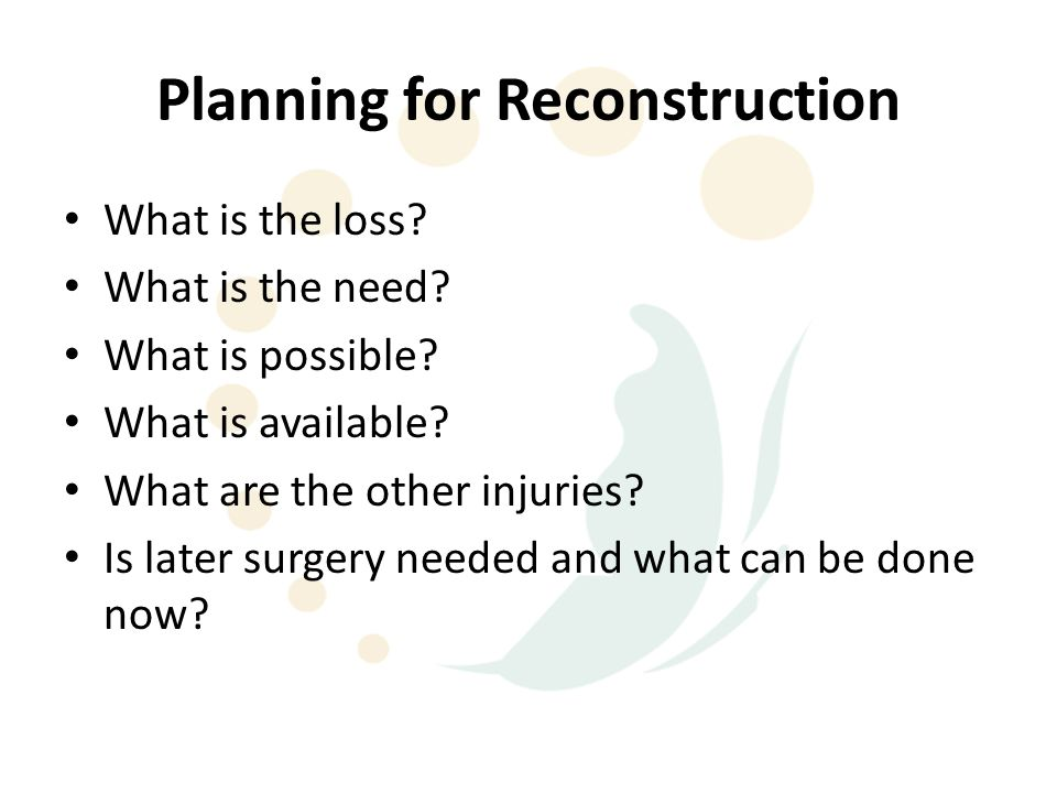 Planning for Reconstruction