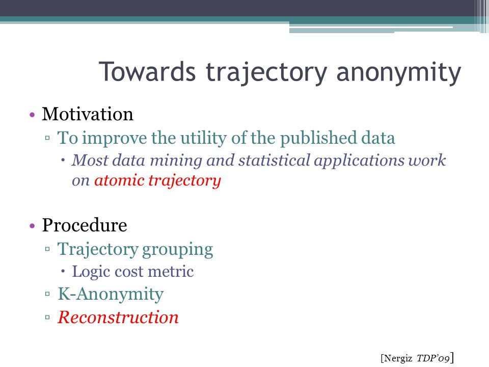 Towards trajectory anonymity