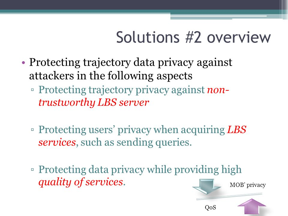 Solutions #2 overview Protecting trajectory data privacy against attackers in the following aspects.