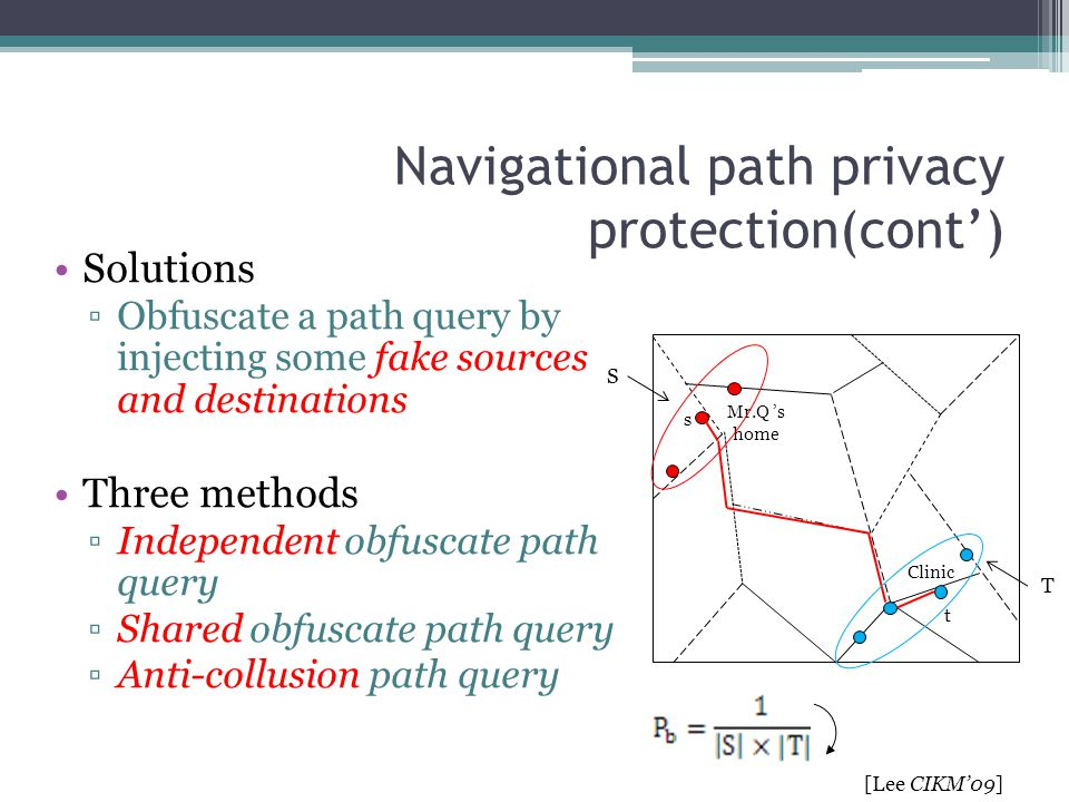 Navigational path privacy protection(cont')