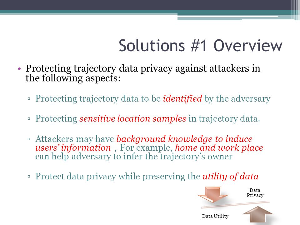 Solutions #1 Overview Protecting trajectory data privacy against attackers in the following aspects: