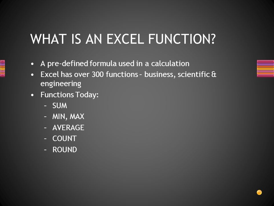 WHAT IS AN EXCEL FUNCTION