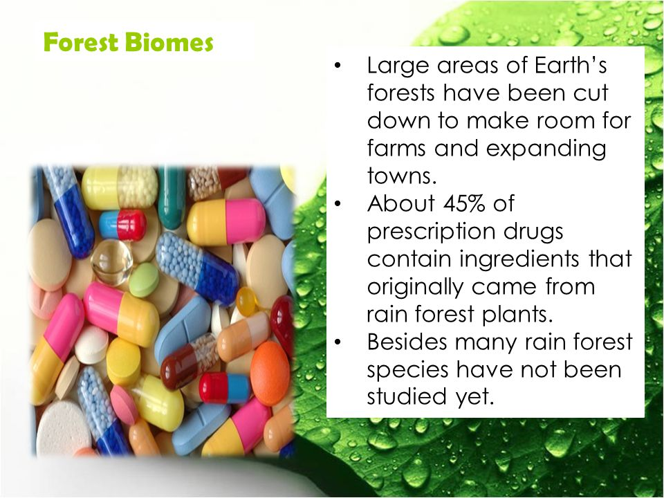 Forest Biomes Large areas of Earth's forests have been cut down to make room for farms and expanding towns.