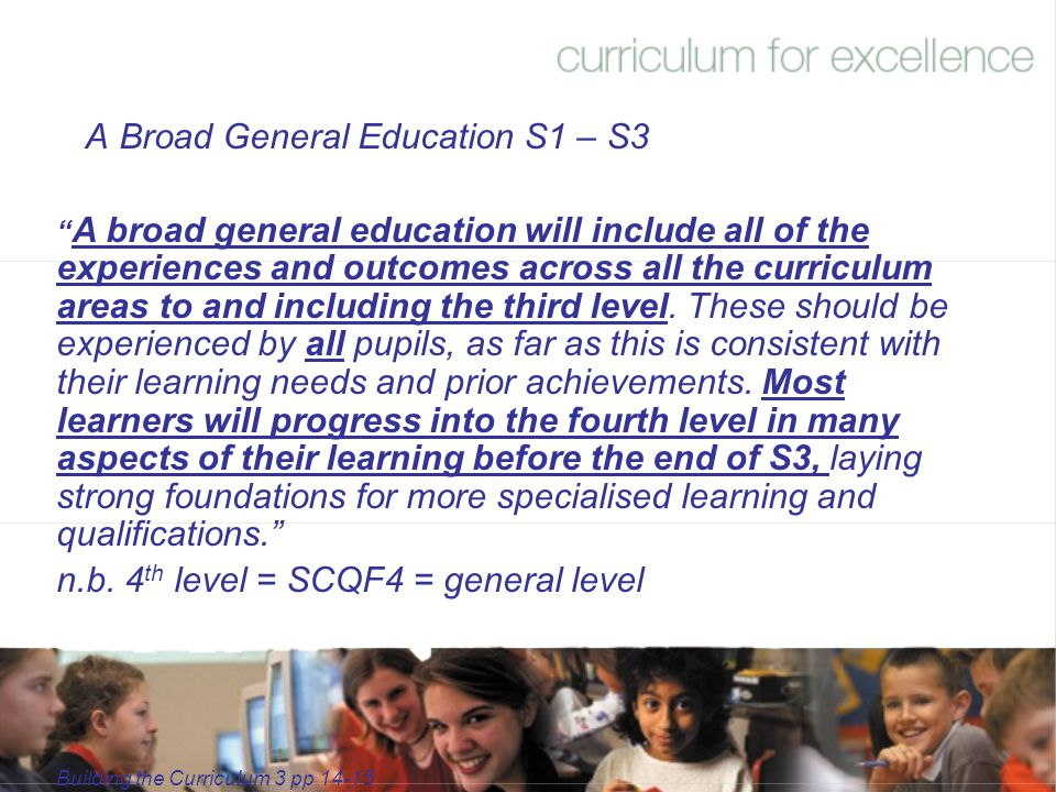 A Broad General Education S1 – S3