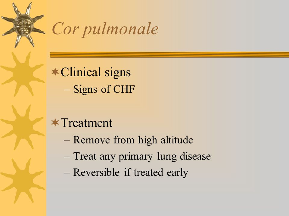 Cor pulmonale Clinical signs Treatment Signs of CHF