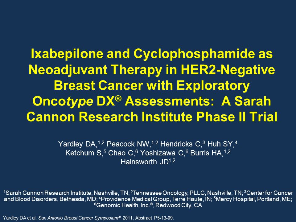 Ixabepilone and Cyclophosphamide as Neoadjuvant Therapy in HER2-Negative Breast Cancer with Exploratory Oncotype DX® Assessments: A Sarah Cannon Research Institute Phase II Trial
