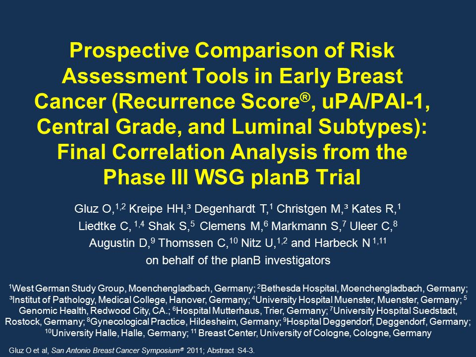 Prospective Comparison of Risk Assessment Tools in Early Breast Cancer (Recurrence Score®, uPA/PAI-1, Central Grade, and Luminal Subtypes): Final Correlation Analysis from the Phase III WSG planB Trial