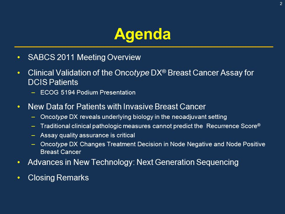 Agenda SABCS 2011 Meeting Overview