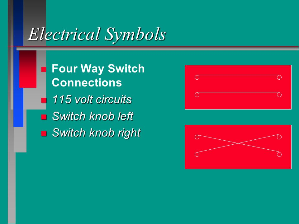 Electrical Symbols Four Way Switch Connections 115 volt circuits