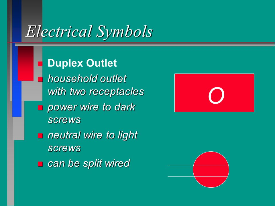 O Electrical Symbols Duplex Outlet