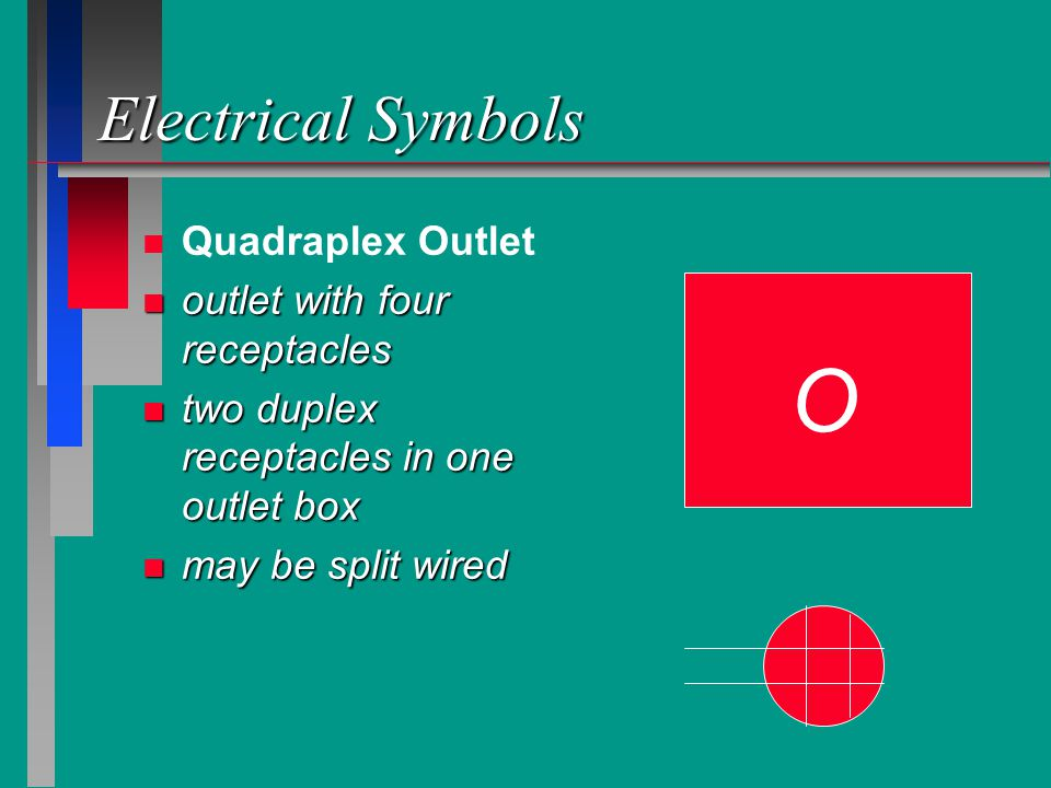 O Electrical Symbols Quadraplex Outlet outlet with four receptacles