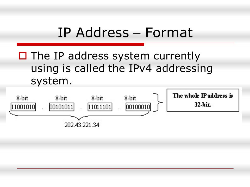 IP Address – Format The IP address system currently using is called the IPv4 addressing system.