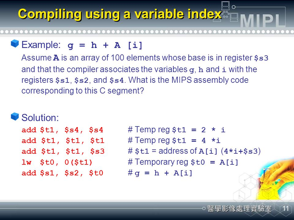 Compiling using a variable index