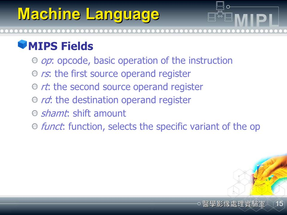 Machine Language MIPS Fields