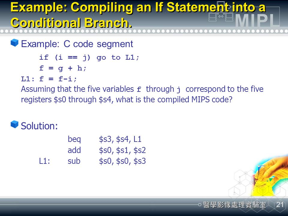 Example: Compiling an If Statement into a Conditional Branch.
